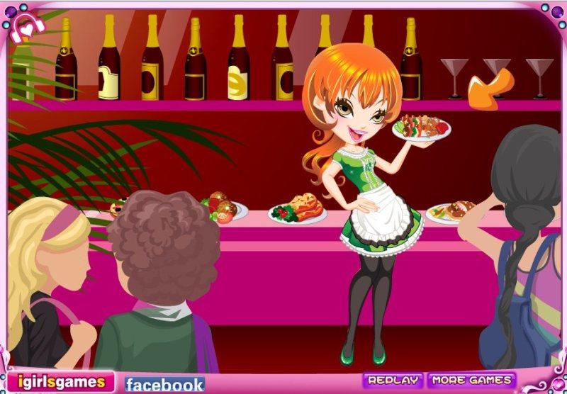 ковбой и молодая официантка
